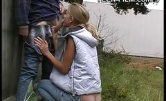 blonde teen flashing outdoor