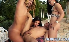 Two trannies joining a hot bisex couple