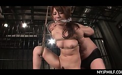 Tied up and caged Japanese naked MILF fucked hard in her