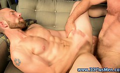 Muscly hard cock bear cums on stud