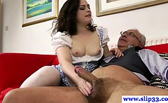 Young european bitch gets ravaged by old man