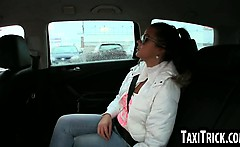 brunette babe sucks on her taxi drivers hard cock