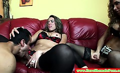 Euro trannies sucked off by a lucky guy