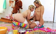 Enema babes squirt milk on cereal pile