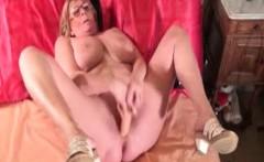 Fat blonde granny pleasures herself