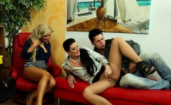 Clothed classy threesome fucking