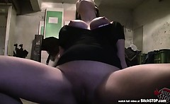 bitch stop pretty and busty long haired brunette