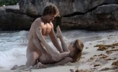 horny art sex of horny couple on beach
