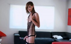 Small tits tranny Sienna Grace solo masturbation with sextoy