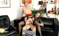Brit stockings hoe rides cock