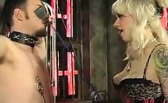 Blonde Dominatrix And Her Male Slave