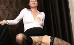Nerdy Mature Woman Toying With Her Ass