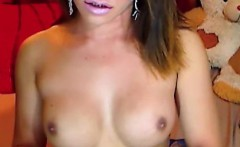 Hot Busty Shemale Strokes her Cock and Cums