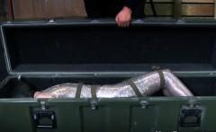 Masked sub in full body encasement