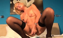 Blonde granny masturbates pussy and plays with smal dildo