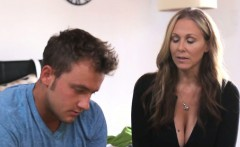 Stepmom Julia Ann helps stepson and gf