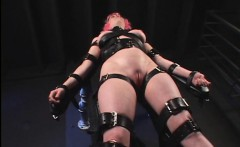 Pierced BDSM hooker enjoying extreme strapping and torture