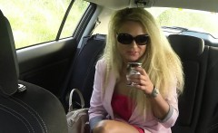 blonde in red dress with nice ass banged in fake taxi