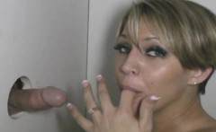 Short Haired Blonde Girl Sucking Dick Through Glory Hole