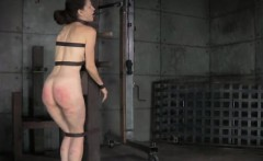 Restrained sub getting her ass punished
