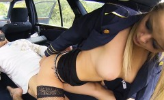 Stewardess christen courtney gives sloppy road head