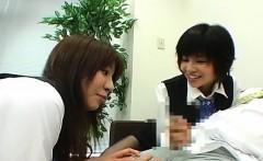 Subtitled CFNM Japanese office lady femdom threesome