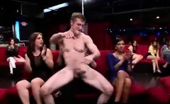 Public blowjobs for strippers by group of CFNM amateurs