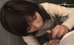 Aroused Asian babe sucks on the sausage