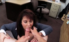 Busty brunette MILF sucks dick for cash