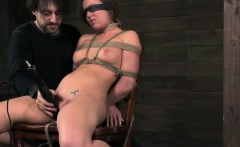 Blindfolded chair bondage with hot babe