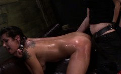 Bonded strapon lezdomslave doggystyle nailed on couch