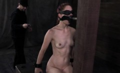 Gagged submissive spanked until red raw