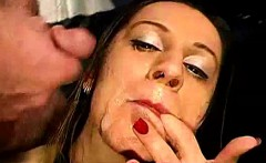 european bukkake sluts take cum facials from group of dudes