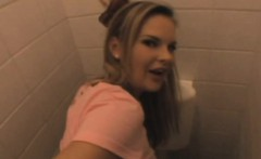 Blonde Taking Cumshot Facial In Public Bathroom Stall