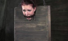BDSM submissive has both holes toyed