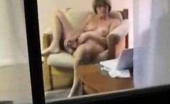 Blonde housewife Jody spied through window