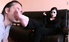 Smoking Goth Gets Her Feet Worshipped