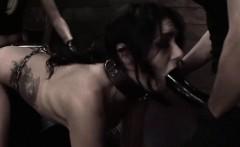 Tied up lesbian enjoys black dildo
