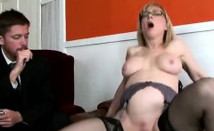 Beautiful blonde cougar helps stepson to get a job