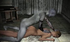 3D cartoon blonde babe getting fucked by a zombie