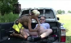 German Teen Hooker Sexy Cora get fucked outdoor for Money