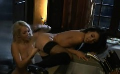 Lesbian Fun In A Kitchen At Night Before Bed
