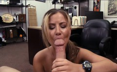 Cute amateur blonde waitress pawns her pussy and fucked