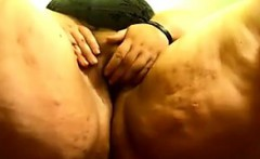 Very Large Woman Plays With Her Pussy