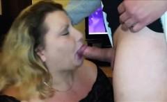 Horny BBW sucks and swallows his cum