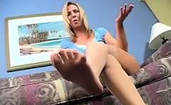 Blonde Chick Teasing Her Feet Close Up