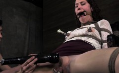 Mouth gagged sub gets tit pumped TT NT