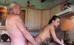Slut girl licks and fucks wrinkled grandpa