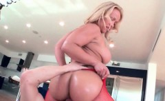 Big ass blonde riding monster dick in fishnets