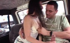 Attractive brunette rubbing huge cock in bus